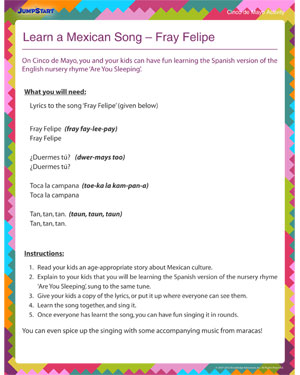 Learn a Mexican Song – Cinco de Mayo Activity Worksheet
