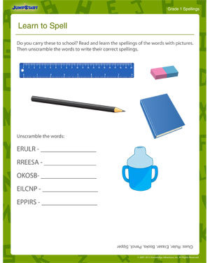 Learn to Spell - Printable Spelling Worksheet