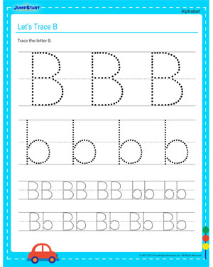 Let's Trace B – Free Alphabet Worksheet Online
