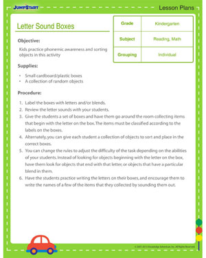 Letter Sound Boxes - Free Reading Lesson Plan for Kindergarten