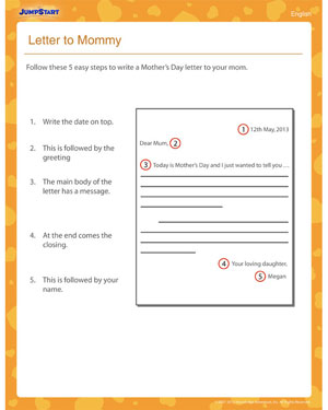 Letter to Mommy – Free 3rd Grade English Worksheet