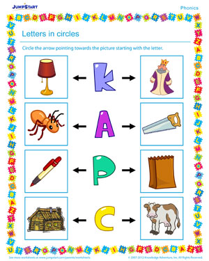 Letters in Circles - Phonics PDF worksheet