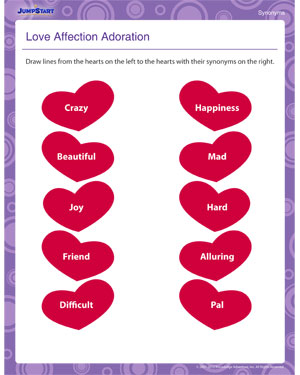Love Affection Adoration - Free Grammar Worksheet for Second Grade