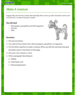Make a Creature - free critical thinking worksheet for download