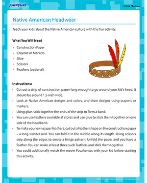 Native American Headwear - Social Studies activity for kids
