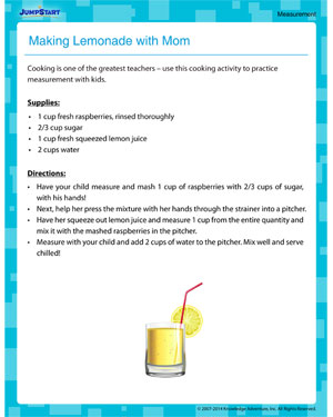 Making Lemonade with Mom - Measurement activity for kids