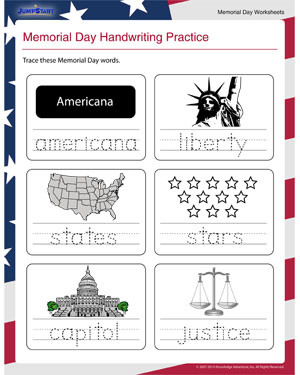 Memorial Day Handwriting Practice – Free Handwriting Worksheet for Memorial Day