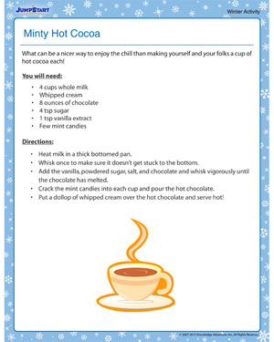 Minty Hot Cocoa - Free Winter Activity PDF for Kids