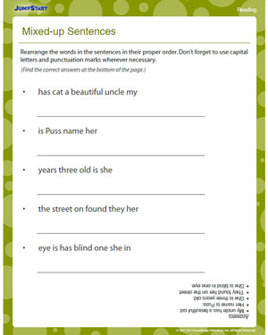Mixed-up Sentences - Free Reading Worksheet for Kids