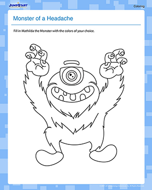 Monster of a Headache - Free Coloring Worksheet for Kids