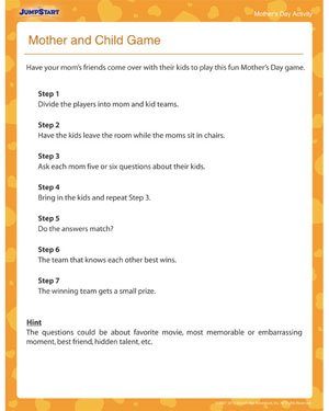 Mother Child Game Printable Day Activities Jumpstart