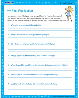 My First Publication - Free educational printable for 2nd grade kids