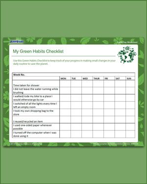 My Green Habits Checklist – Free Earth Day Worksheet for Grade 5