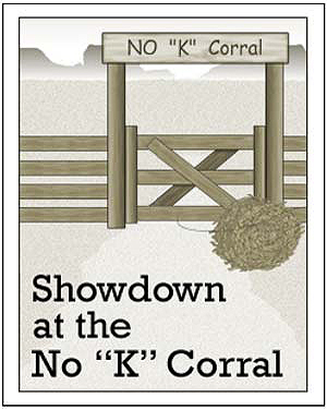 No 'K' Corral - Free Reading Worksheet for Kids