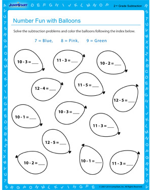 Number Fun with Balloons - Free educational printable for 2nd grade kids