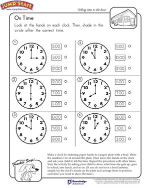 Time Worksheets free telling the time worksheets : On Time – Telling Time Worksheets for Kids – JumpStart