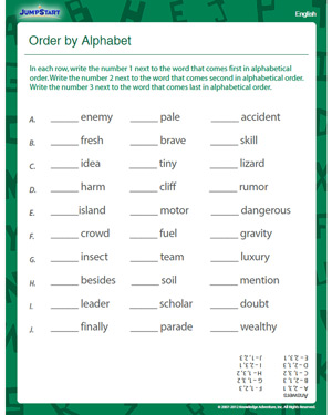Order by Alphabet - Free English Worksheet for Kids