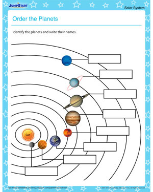 Order the Planets - Science Worksheet on Solar system