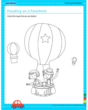 Parading on a Parachute - Coloring worksheet for kids