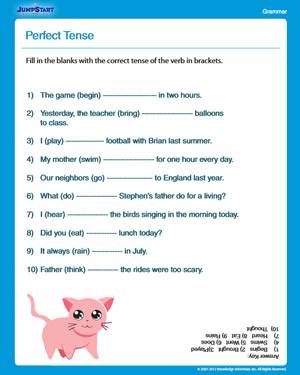 Perfect Tense - Free English Worksheet for 3rd Grade