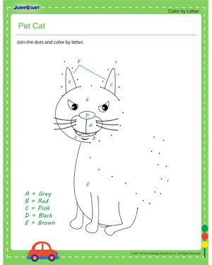 Pet Cat - dot to dot worksheets for kids