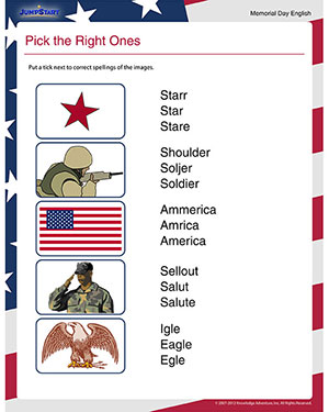 Pick the Right Ones – Free Memorial Day Worksheet for 1st Grade