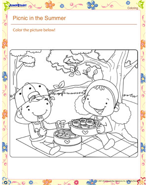 Picnic in the Summer! – Kindergarten Coloring Worksheet