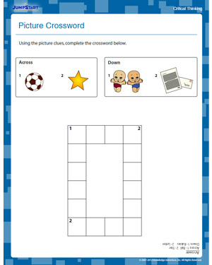 Picture Crossword - Free Critical Thinking Worksheet for 1st Grade