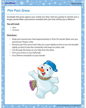 Pim Pom Snow - Free Winter Activity PDF for Kids