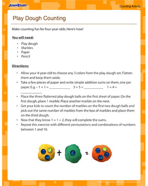 Play Dough Counting - Free Counting Activity for Four Year Olds