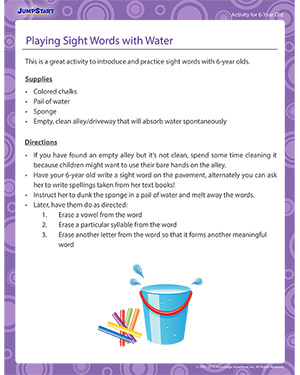 Playing Sight Words with Water - Activity for 6-year olds