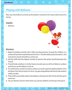 Playing with Balloons - Activity for 3-year olds