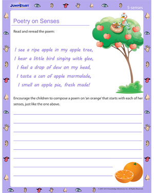 Poetry on Senses - 5 senses worksheet for kids
