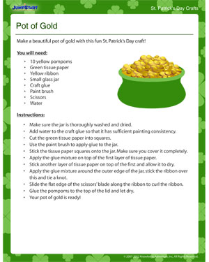 Pot of Gold - Free Kids Craft for St. Patrick's Day