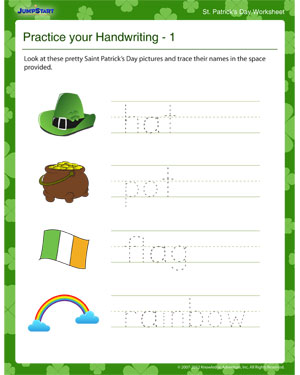 Practice your Handwriting – 1 - Free St. Patrick's Day Worksheet for Kids