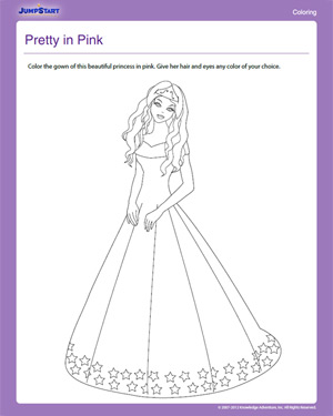 Pretty in Pink - Free Coloring Worksheet for Kids