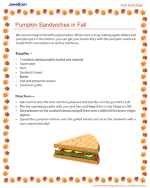 Pumpkin Sandwiches in Fall - Free Fall Resource for Kids