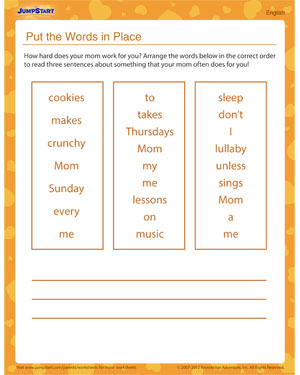 Put the Words in Place – Worksheet for Mother's Day