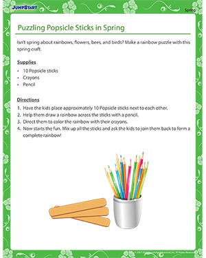 Puzzling Popsicle Sticks in Spring - spring craft