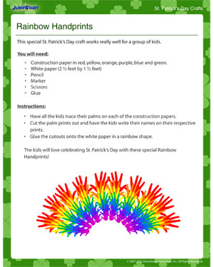 Rainbow Handprints - Cool Kids' Craft for St. Patrick's Day