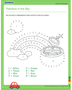 Rainbow in the Sky - dot to dot worksheets for kids