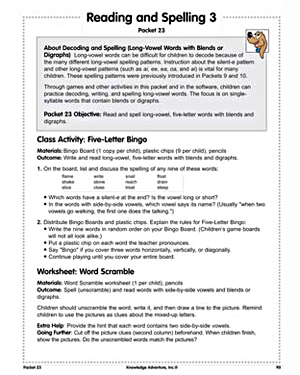 Reading and Spelling 3 - Free Reading Worksheet for Kids