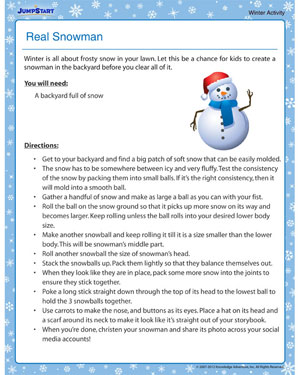 Real Snowman - Free Winter Activity PDF for Kids