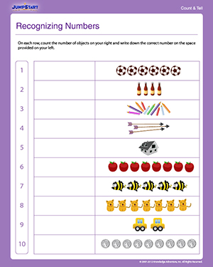Recognizing Numbers - Free Math Worksheet for Preschoolers