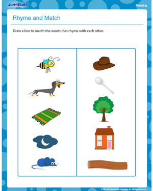 Rhyme and Match - Free Reading Worksheet for Kids