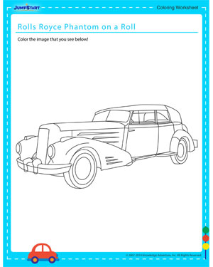 Rolls Royce Phantom on a Roll - Coloring worksheet for kids