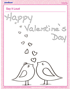 Say it Loud - Fun Printable Coloring Page for Valentine's Day