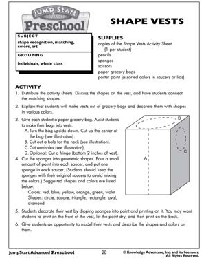 'Shape Vests' - Free Math Worksheet for Kids