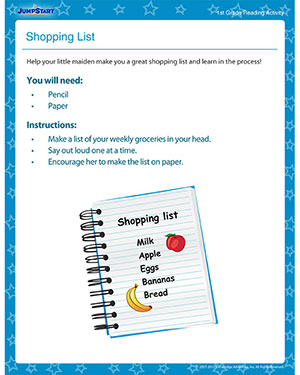 Shopping List - Printable Reading Activity