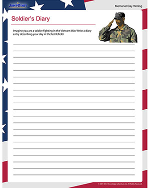 Soldier's Diary – Free Memorial Day Worksheet for 5th Grade